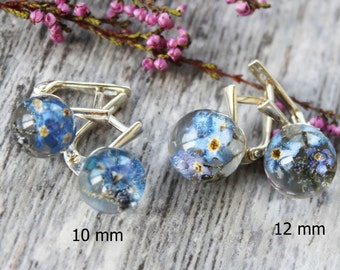 Forget me not earrings Real flower jewelry Earrings for Girls Forget me nots Resin jewelry Forgetmenot flower Earrings for Kids Girl Jewelry