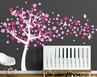 Cherry Blossom Tree Decal - Wall Decal Tree with Blossoms - Nursery Tree Decal - WAL-2121