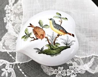 Herend Rothchild Bird Heart Shaped Porcelain Box Jewelry Box