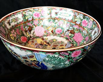 A super large, vintage Chinese punch bowl