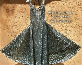 sale 1950 Vintage Black Lace Dress ~ Party Cocktail ~ Retro Regency ~ Suzy Perette New York ~ Sheath Dress Pleated Flat Bustle ~ Gala Dress