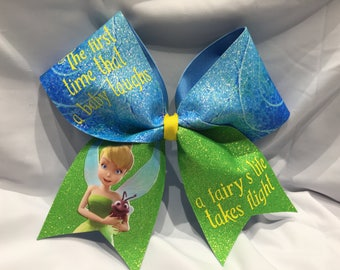 """a fairy's life takes flight - Tinker Bell """"TEXAS/CHEER"""" LARGE Size Glitter bow"""