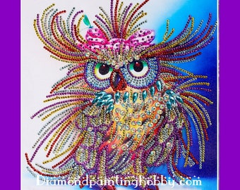 Free shipping! Owl, special shaped diamond painting, 3d painting, partial pasting area, diy kits,  3D Embroidery set Cross Stitch