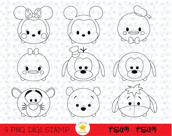 Tsum Digital Stamps Disney Intstant Download Party Coloring Page Stamp Mickey From