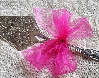 WEDDING CAKE SERVER Vintage Ornate Decorative Cake Knife Silver Plated Wedding Present Gift for Mum #72