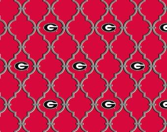 University Of Georgia Bulldogs UG Collegiate Trellis Cotton Fabric 1 Yard Sports Team 100% Cotton