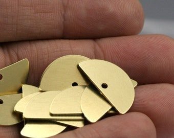 "Semi circle blanks  half moon shape 20x10x0.8mm raw brass pendant (1.5mm  0,06"" 15 gauge hole) SCS 1427R-92"