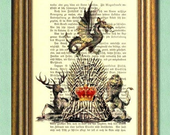 THE IRON THRONE Game of Thrones Dictionary Art Print Wall Art Upcycled Book Page Print