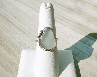 Seafoam Genuine Sea Glass Size 8.5 Ring .935 Argentium Sterling Silver 8 1/2