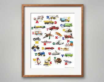 ABC Things That Go! Transportation Art Print