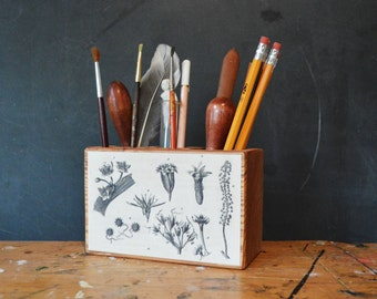 Wood Botanical Desk Caddy Medium Flower Desk Organizer Office Desk Accessory Wood Pencil Holder Anniversary Gift Men Gift Wood Peg and Awl