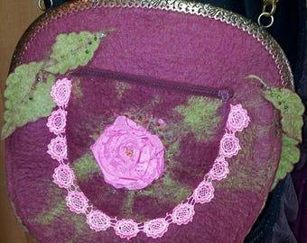 Felt bag, rose bag, elves, steampunk