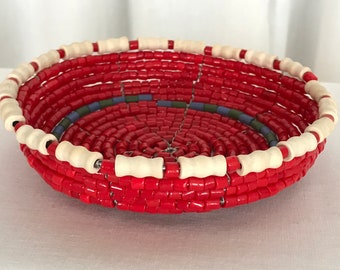 Petite Red Basket with White Wood Bead Boarder