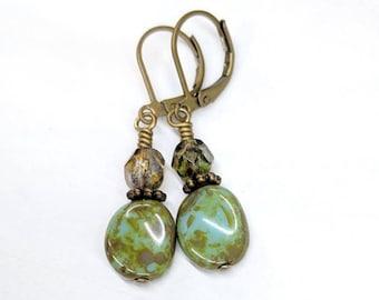 Rustic Turquoise Green Bead Earrings, Czech Glass Bead Dangle Earrings, Boho Chic Earrings Jewelry, Earthy Earrings, Unique Earrings Jewelry