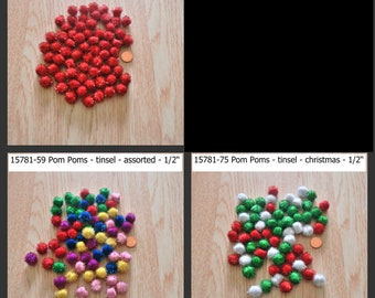 "Pom Poms - 1/2"" - tinsel or iridescent - assorted colors - 1 pkg"