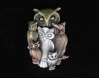 Owl Brooch- Owl Jewelry- Owl Pin- mixed metal jewelry
