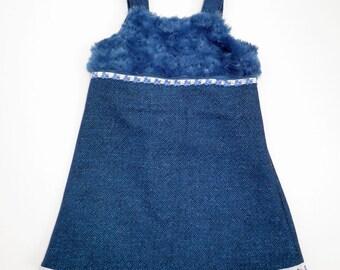 Woollen Dress with Soft Faux Fur Trim - Size 3