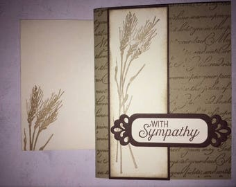 Handmade sympathy card, wheat sympathy card