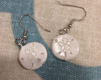 Handmade sand dollar earrings
