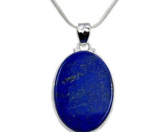 Lapis Lazuli Necklace Sterling Silver Pendant , AD746 Silver Chain Snake Chain Jewelry Gift