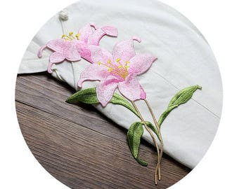 Pink Blooming Flower Appliques, Embroidered Patches
