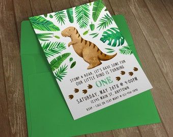 Dinosaur Baby or Kid Birthday Invitation Printable