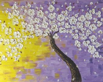 Large Painting Acrylic Painting Tree of Life Large Canvas Art Textured Art Original painting Sakura Contemporary art Wall decor Fine art