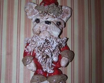 Folk Art Vintage French Bulldog Santa Claus Vintage Ornament Doll Ooak