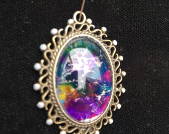 Oval hand painted pendant with cabochon dome