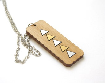 Wooden necklace, triangle pattern, geometric jewel, modern minimalist, woman pendant, gold silver color, metal chain, made in France, Paris