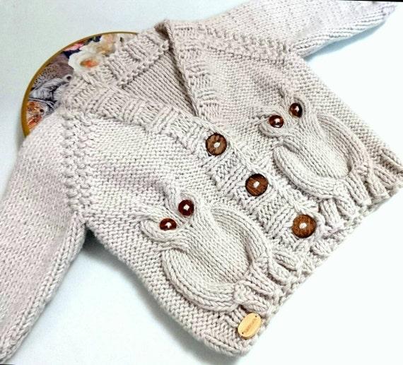 suéter de bebé búho Rebeca de niño del bebé suéter del niño