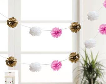 Puff Garland, Pom Pom Garland, Hanging Decoration, Pink, White, Blue Gold paper hanging decoration, Tissue Pom Pom Decoration, Baby Shower