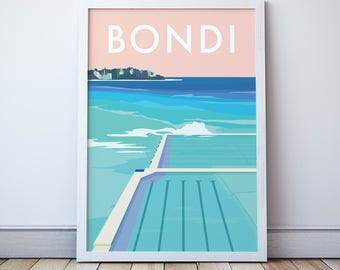 Bondi Vintage Style Seaside Travel Print/ Poster