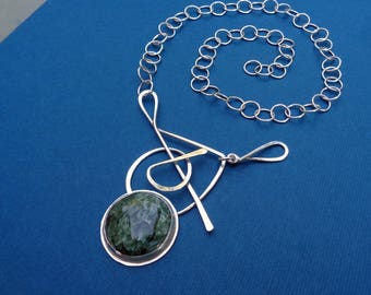 Ready to Ship! Squiggle with Green Seraphinite: Completely Handcrafted One-of-a-Kind Sterling Artwear Necklace by Judi Goldblatt Studio