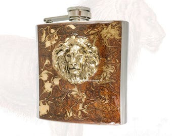 Lion Flask Inlaid in Hand Painted Bronze Enamel with Gold Swirl  Design Custom Colors and Personalized Options