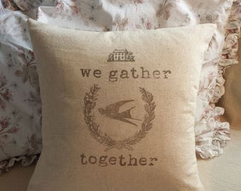 We Gather Together Pillow Cover 18X18 Give Thanks Thanksgiving Fall Decor Graphic Wreath House Farmhouse French Cottage Style Decor
