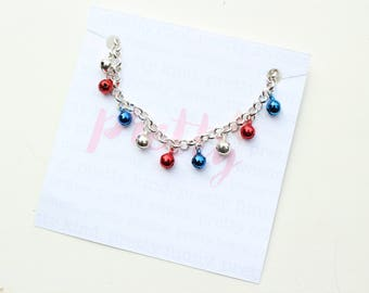 American Girl Bracelet, Red White & Blue | Toddler Girl | Patriotic Gift | Fourth of July Outfit | Silver Anklet Bell Bracelet
