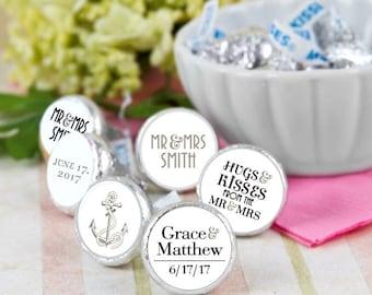 108 Mr & Mrs Hershey Kiss® Stickers, Nautical Hershey Kiss Stickers Wedding, Personalized Anchor Hershey Kiss Labels, Wedding Favors