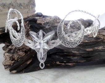 Elvenstar Crescent Moon Circlet Celtic Goddess Crystal Crown Elven Headdress Tiara