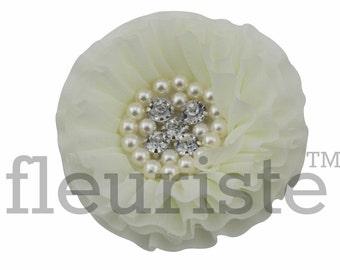 IVORY Chiffon Flower, Wholesale Flower, Fabric Flower, Headband Flower, Wedding Flower, Flower Embellishment, Diy Flower, DIY Headbands