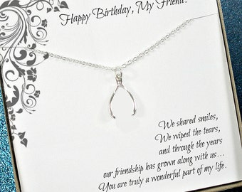 Friend Birthday Gift, Best Friend Necklace, Wishbone Good Luck Jewelry with Friendship Message Card, Sterling Silver, Starring You Jewelry