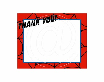 PRINTABLE Thank You Note Cards - Spider Hero - INSTANT DOWNLOAD