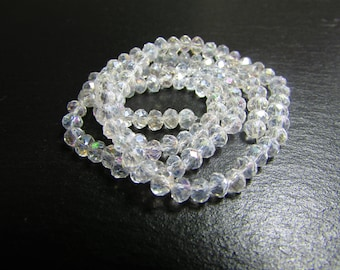 set of 30 iridescent 4 mm white Crystal beads