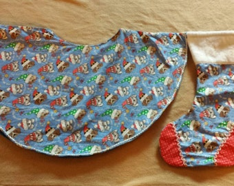 One of a kind Santa puppies Christmas tree  skirt and stocking Made and ready  to ship