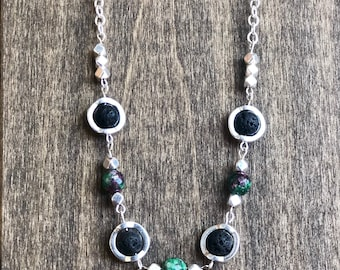 Ruby, Ruby Zoisite, Ruby Zoisite Necklace, lava stone, Aromatherapy Jewelry