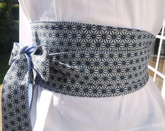 OBI belt Japanese style - reversible 2 faces: 1 geometric Japanese designs one linen black