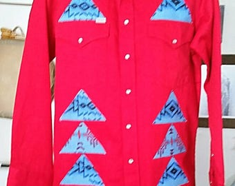 American Indian Style Applique Shirt Carhartt 16x35 Horses