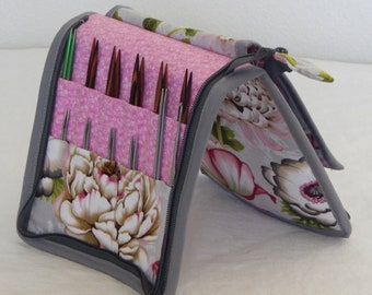 24 pair capacity Interchangeable and DPN knitting needle and crochet hook keeper case sized to hold up to US 11 Large flowers