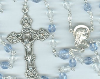 Handmade Blue Zircon (Light Sapphire Blue) Czech Glass Rosary ~ December Birthstone
