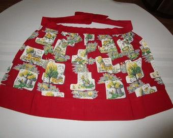 Vintage Red Apron, Vintage Half Apron, Vintage Colorful Apron,  Apron, Aprons, Retro Aprons, Vintage Accessories